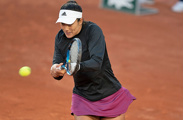 Garbine Muguruza (ESP) seen playing in the French Open at Roland-Garros. Mandatory Credit: Susan Mullane-USA TODAY Sports