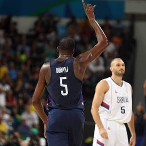 Kevin Durant of the U.S. men's basketball team celebrates a three-pointer against Serbia in the gold medal game on Sunday, Aug. 21, 2016 at Carioca Arena 1 in Rio de Janeiro, Brazil. - ©TNS
