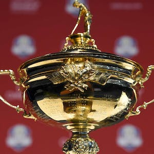 Detail view of the Ryder Cup Trophy during a press conference.