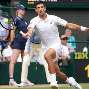 London, United Kingdom; Novak Djokovic (SRB) plays against Matteo Berrettini (ITA) in the men's final on Centre Court at All England Lawn Tennis and Croquet Club. - USA TODAY Sports
