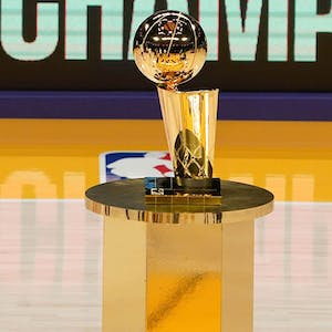 The 2020 NBA Championship Larry O'Brien trophy won by the Los Angeles Lakers on display at Staples Center.. - Kirby Lee-USA TODAY Sports