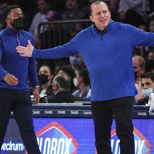 New York Knicks head coach Tom Thibodeau argues a call in the first quarter against the Indiana Pacers at Madison Square Garden.