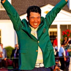 Hideki Matsuyama celebrates with the green jacket after winning The Masters golf tournament. -  USA TODAY Sports