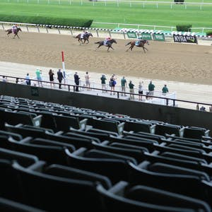 Tiz the Law (8) with Manuel Franco up, wins the 152nd running of the Belmont Stakes in front of a mostly-empty grandstand at Belmont Park. - Brad Penner-USA TODAY Sports