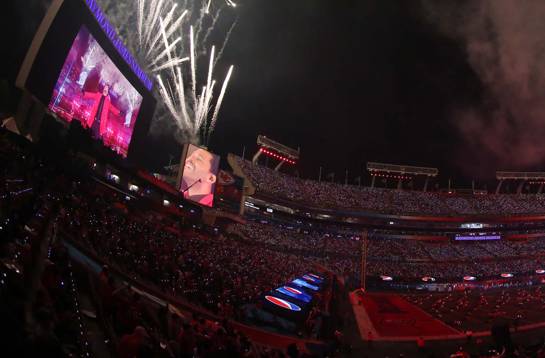 The Weeknd performs during the Super Bowl Halftime Show of Super Bowl LV between the Kansas City Chiefs and the Tampa Bay Buccaneers at Raymond James Stadium on February 7, 2021.