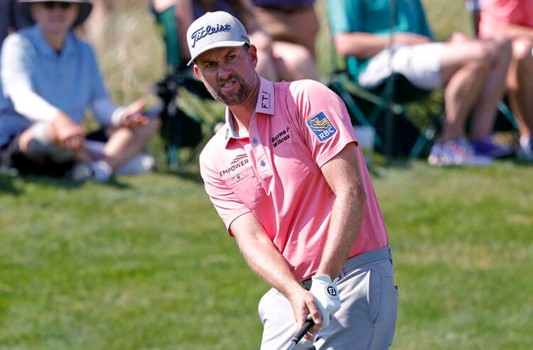 Webb Simpson plays his shot onto the fifteenth green during the second round of the PGA Championship golf tournament.