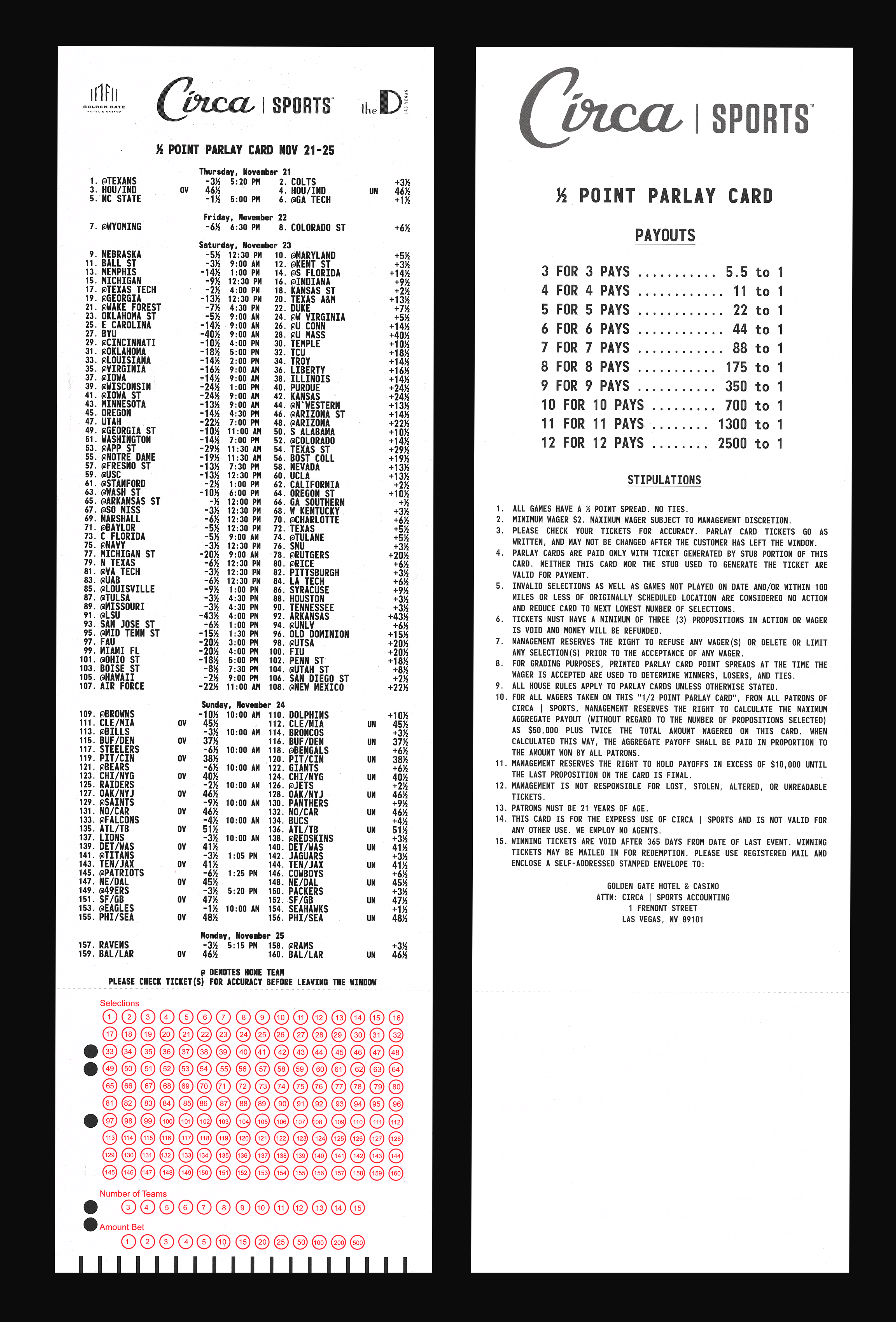 Parlay card from Circa Sports