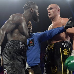 Tyson Fury and Deontay Wilder square off during their second fight.