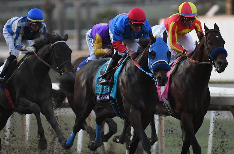 Horses racing toward the finish line.